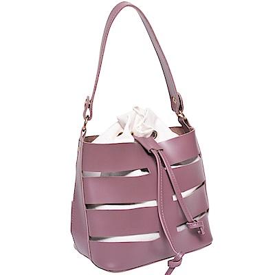 Ann'S現代主義-鏤空手提肩背兩用水桶束口包-紫
