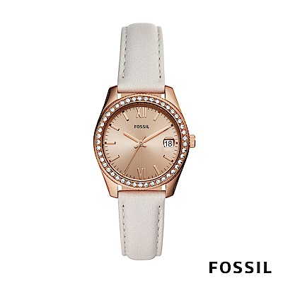 FOSSIL SCARLETTE MINI 灰白色迷你皮革女錶 32mm ES4556
