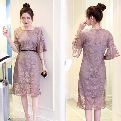 【韓國K.W.】(預購)蕾絲滿版寛袖兩件式洋裝-3色