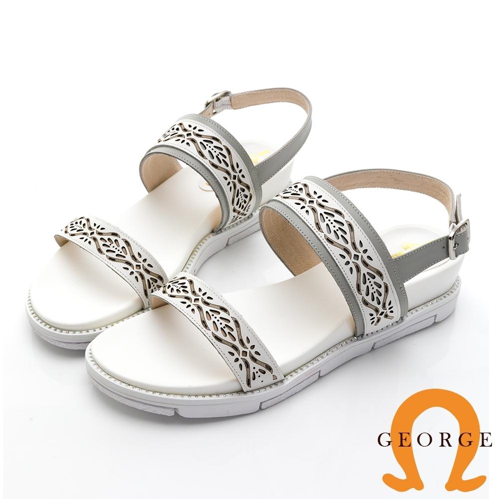 【GEORGE 喬治皮鞋】民俗風情真皮雕花一字帶涼鞋 -白