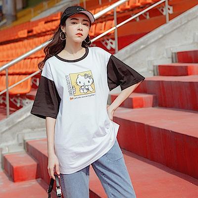 運動KITTY純棉拼色短袖上衣-OB大尺碼
