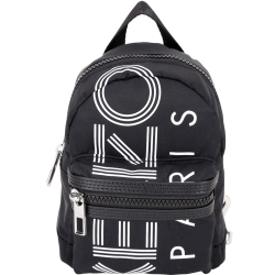 KENZO 迷你款 品牌幾何LOGO尼龍後背包(黑色)