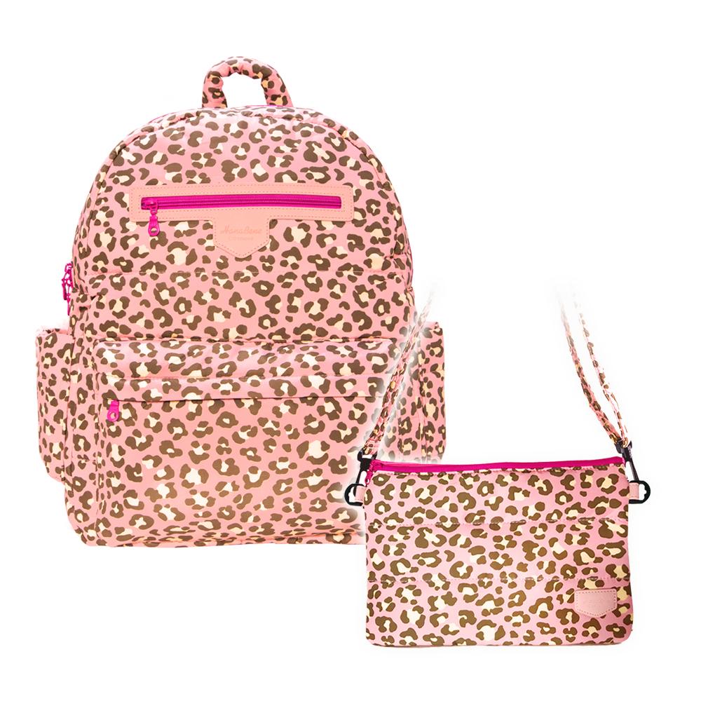 花花班尼 Hana Bene 極輕感大後背13格層防潑水空氣包-2件組-粉色豹紋