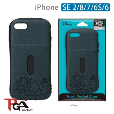 iPhone SE2/8/7/6S/6 4.7吋 迪士尼 軍規 皮革插卡 雙料殼-唐老鴨