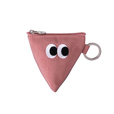 Livework SOMSOM三角耳機收納拉鏈刺繡包-粉