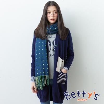 betty's貝蒂思 開襟單釦混羊毛針織線衫(深藍)