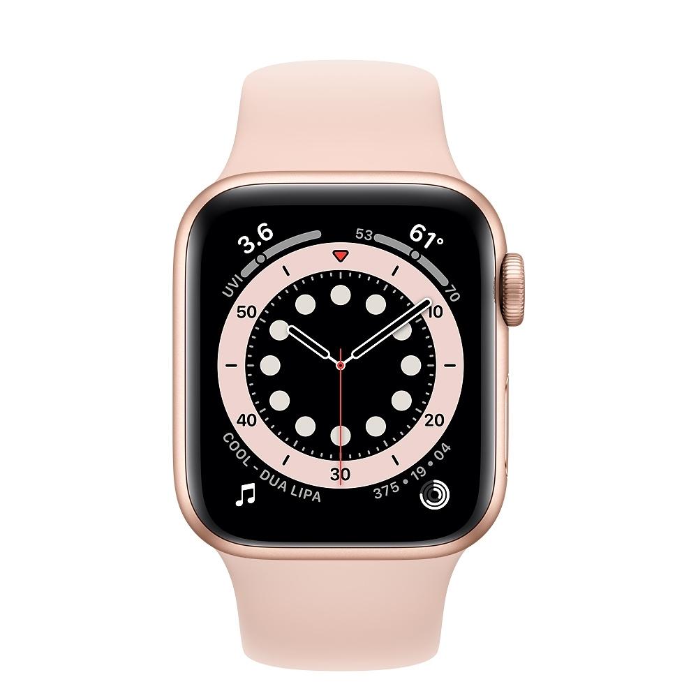 Apple Watch Series 6 (GPS+行動網路) 40mm 金色鋁金屬錶殼+粉沙色錶帶(M06N3TA/A)