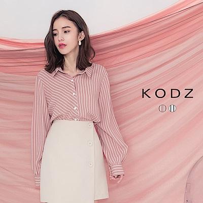 東京著衣-KODZ 知性優雅不規則條紋排扣襯衫-S.M.L(共兩色)