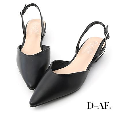 D+AF 雅緻迷人.金屬鞋跟後空低跟鞋*黑