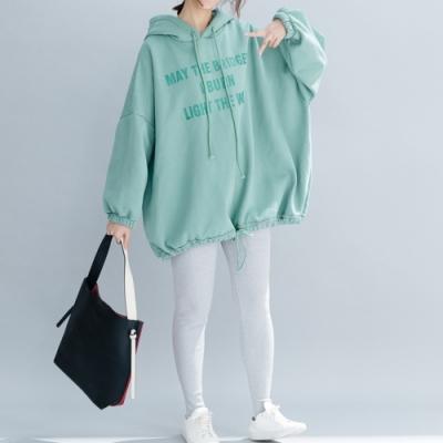 Lockers 木櫃 勵志字母保暖寬鬆抓絨連帽上衣-3色