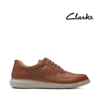 Clarks UN 微尖頭側面透氣孔綁帶正裝休閒鞋 深棕褐色