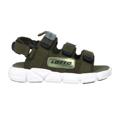 LOTTO 男時尚織帶涼鞋-休閒 拖鞋 海邊 戲水 魔鬼氈 童鞋 LT1AKS3315 軍綠