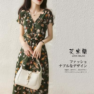 艾米蘭-韓版甜美優雅V領收腰造型洋裝-綠色(M-XL)