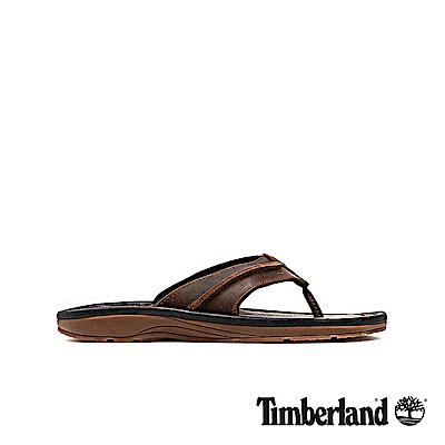 Timberland 男款中咖啡色皮革夾腳拖鞋|5340A