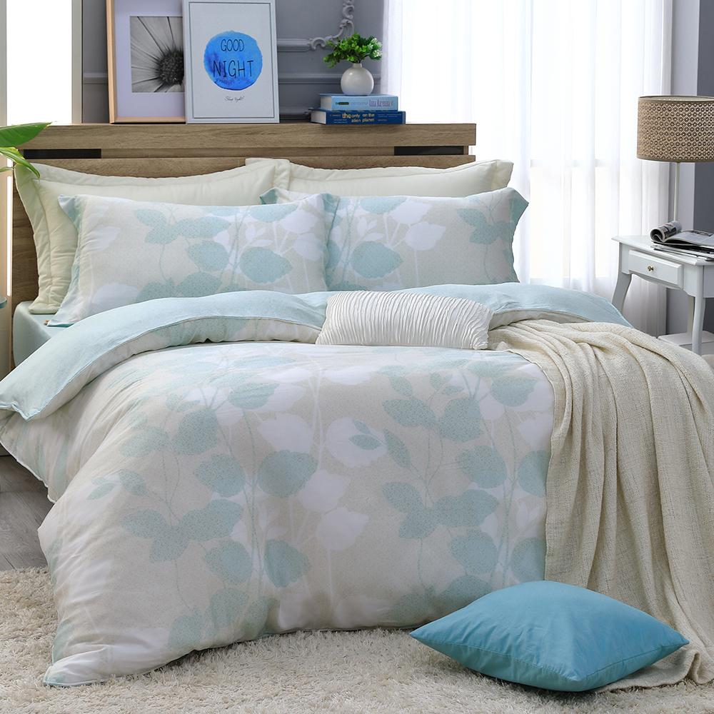 LASOL睡眠屋-300織/100%奧地利天絲 雙人兩用被床包四件組 綠草如茵