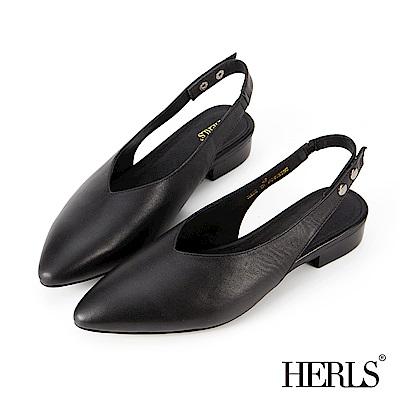 HERLS 全真皮 雙釦後帶尖頭低跟涼鞋-黑色