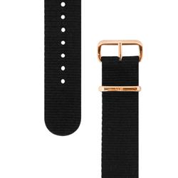 Daniel Wellington 原廠玫瑰金扣尼龍錶帶-黑色/20mm