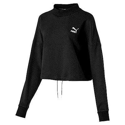 PUMA-女性流行系列PUMA織帶圓領衫-黑色-歐規