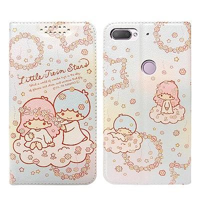 Kikilala 雙子星 HTC Desire 12+ 粉嫩系列彩繪磁力皮套(花圈)