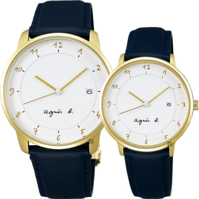 agnes b. 法國時尚簡約對錶-白x金框x黑/38+33mm