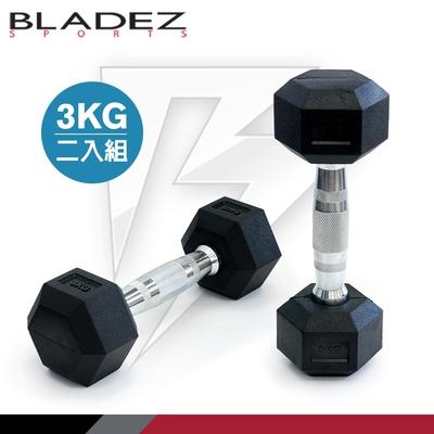【BLADEZ】六角包膠啞鈴-3KG(二入組)