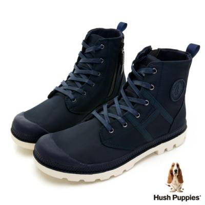 Hush Puppies 質感防潑水休閒男靴-藍