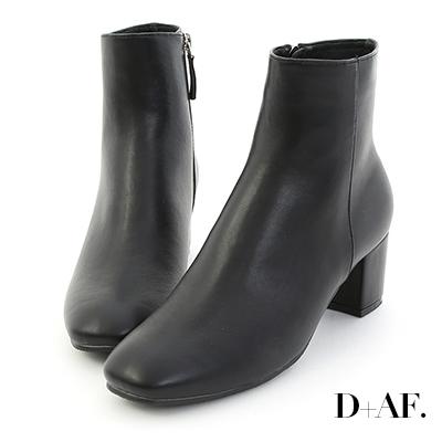 D+AF 簡約調性.素面方頭中跟短靴*黑