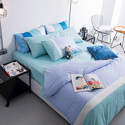 OLIVIA 淺藍X白X粉藍 雙人全鋪棉床包冬夏兩用被套四件組  200織精梳純棉