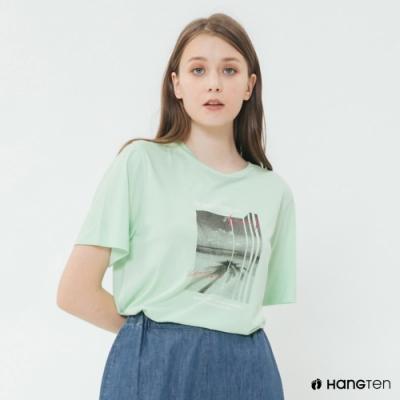 Hang Ten -女裝 - 純色個性照片短T - 綠