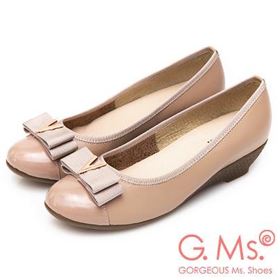 G.Ms. MIT系列-V字金屬雙層蝴蝶結牛皮楔型跟鞋-杏粉色
