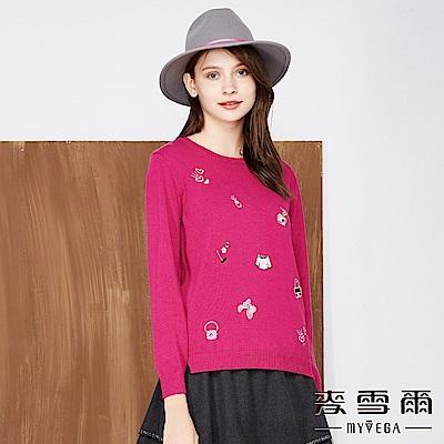 【麥雪爾】純棉水鑽刺繡針織上衣-桃紅