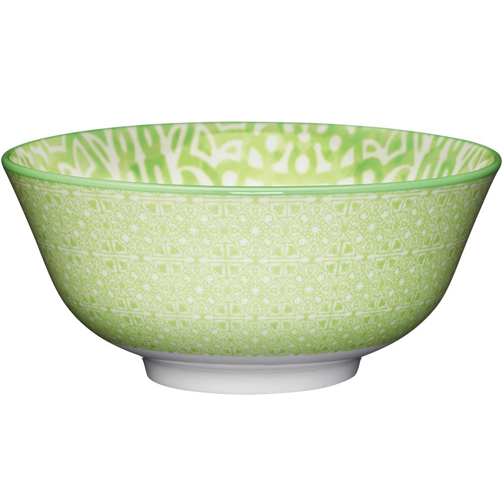 《KitchenCraft》陶製餐碗(花格綠)