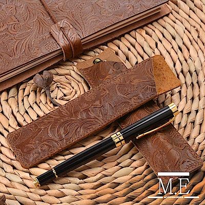 M.E 花雕皮製鋼筆/墨水筆專用筆套 咖啡