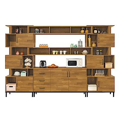 Bernice-庫瓦10尺工業風多功能碗盤餐櫃/收納櫃組合-309x40x196cm