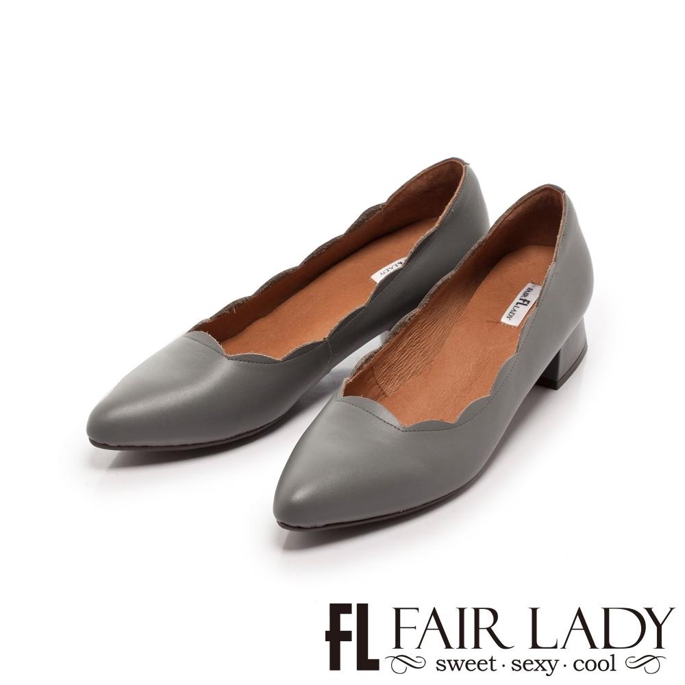 FAIR LADY 波浪花邊尖頭梯形低跟鞋 岩灰