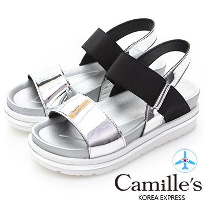 Camille's 韓國空運-正韓製-一字撞色寬版鬆緊帶輕量涼鞋-銀色