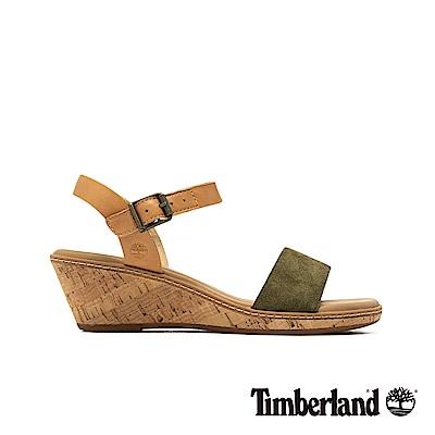 Timberland 女款橄欖綠一字繫帶楔型涼鞋|A1VB9