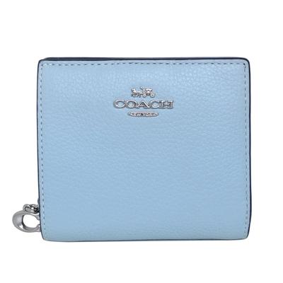 COACH水藍荔枝紋全皮C字拉鍊袋釦式雙摺短夾