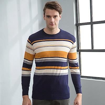 Valentino Rudy范倫鐵諾.路迪-男士時尚圓領針織衫-丈藍黃