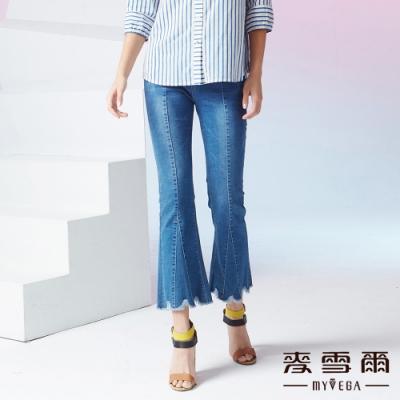 MYVEGA麥雪爾 高含棉多片剪裁九分喇叭牛仔褲-藍