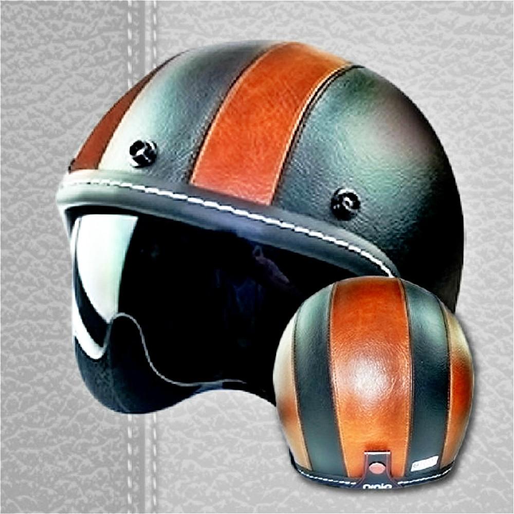 ANING-雙色皮革 匠工精緻車縫 安全帽 gogoro 鏡片 復古帽 內墨鏡  K1 (雙色咖)
