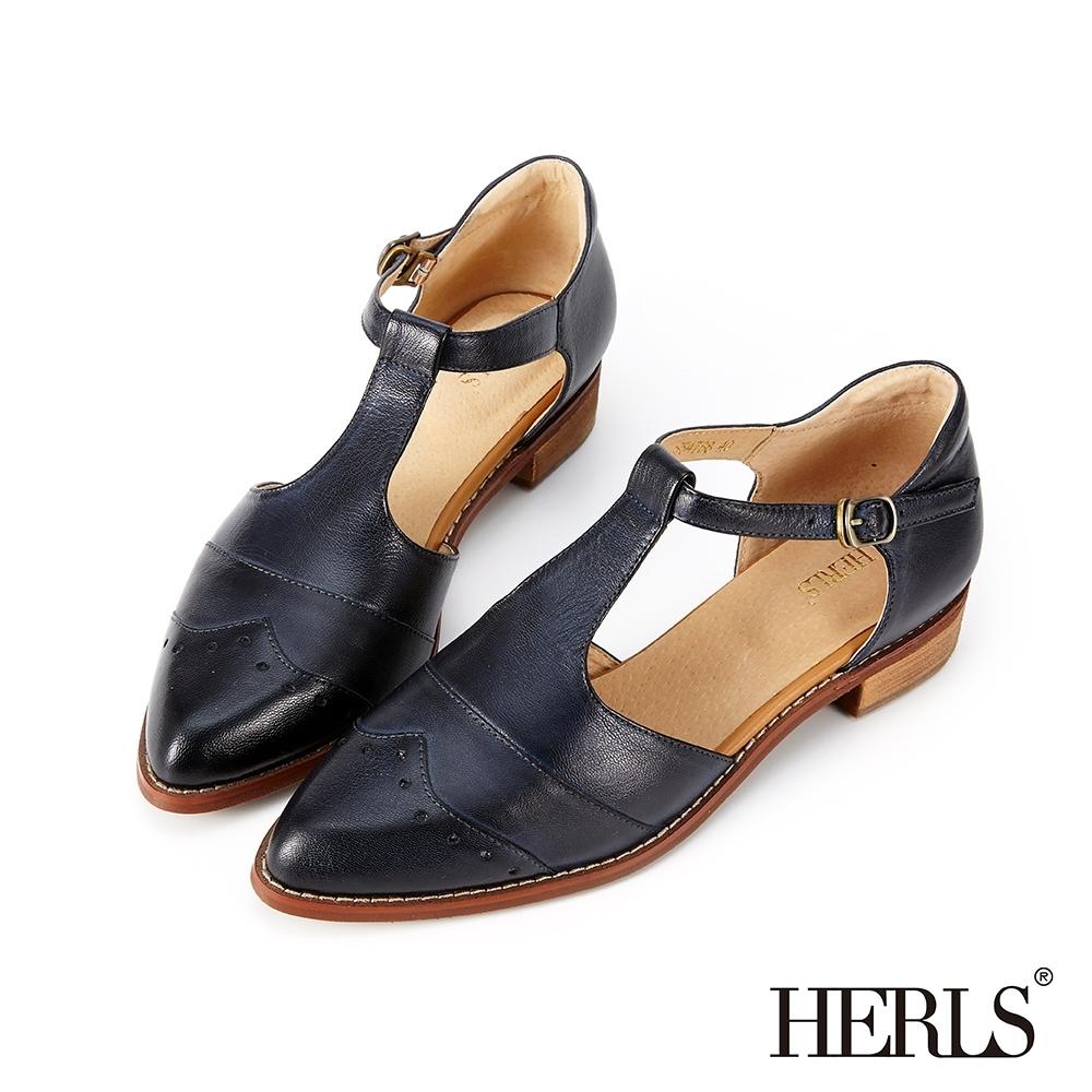 HERLS 全真皮沖孔T字瑪莉珍低跟鞋-藍黑色