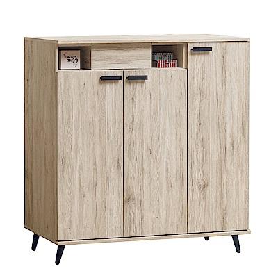 綠活居 比卡現代4尺三門單抽鞋櫃/玄關櫃-120x39x123cm免組