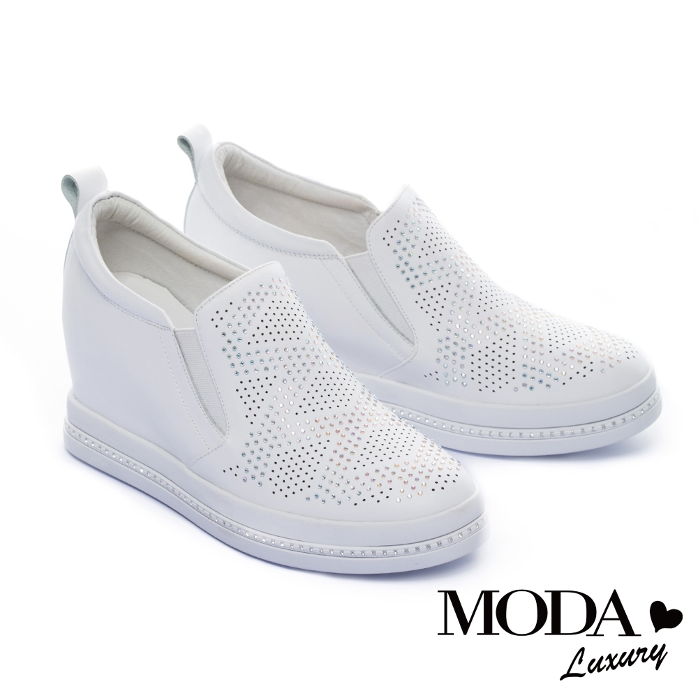 休閒鞋 MODA Luxury 閃爍水鑽沖孔全真皮內增高休閒鞋-白