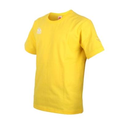 KAPPA DD52聯名男女短袖T恤-限量-菱格世代 純棉 台灣製 休閒上衣 33145BW-D17 黃白