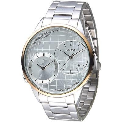 ALBA雅柏手錶 世界地圖兩地時間男錶-玫瑰金框(AZ9004X1)/45mm 保固二年