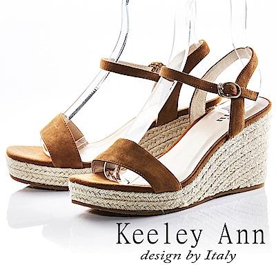 Keeley Ann 完美顯瘦~素面質感編織真皮楔形涼鞋(棕色-Ann)