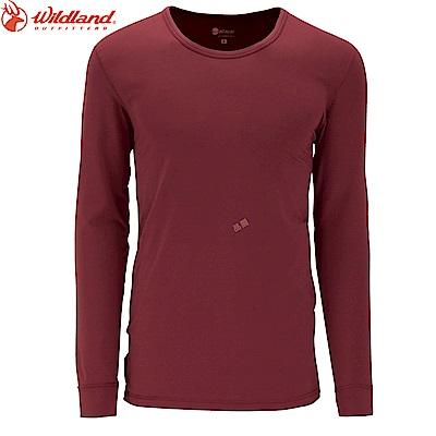 【Wildland 荒野】男遠紅外線圓領保暖衣暗紅