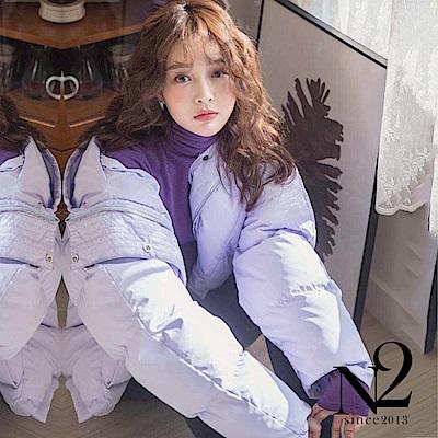 外套 正韓寬版前短後長設計連帽羽絨外套(紫) N2