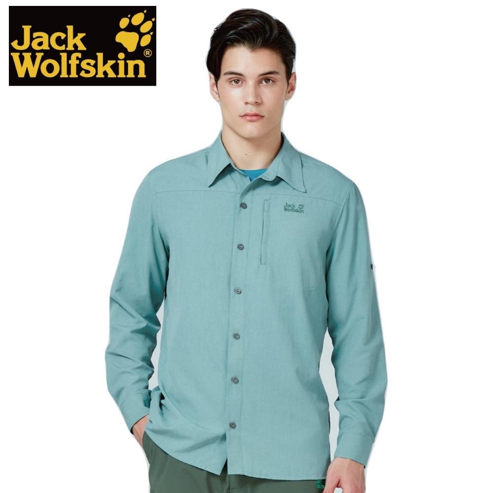 【Jack Wolfskin 飛狼】男 長袖排汗條紋襯衫『綠色』